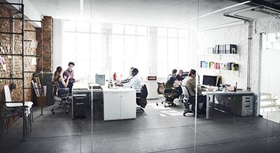 Two teams in modern office